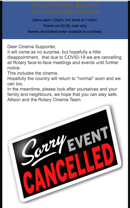 Community Cinema Cancellation Poster March 2020