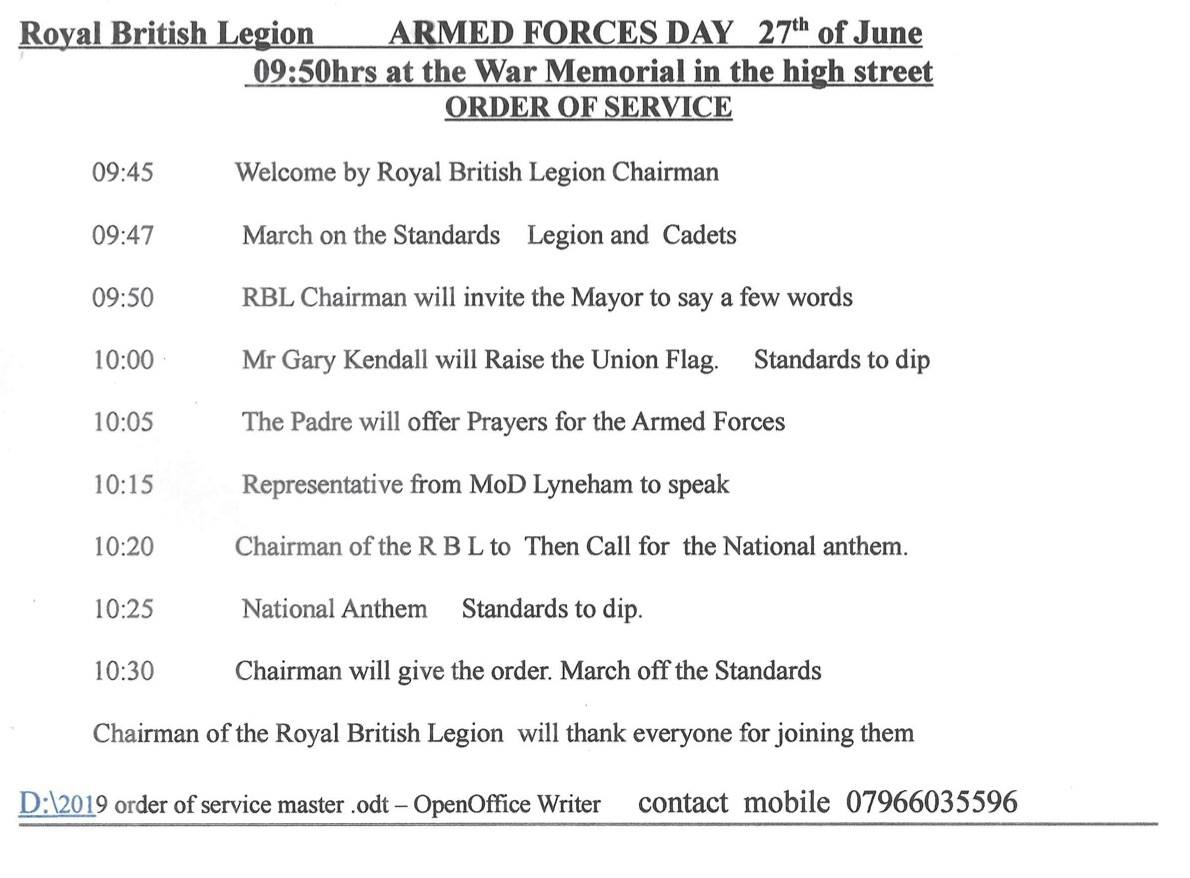 RBL Order Of Service