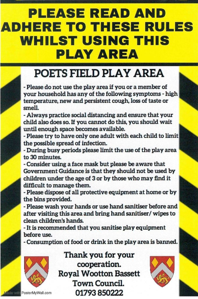 Covid 19 Guidance notice on using Poetsfield Play Park