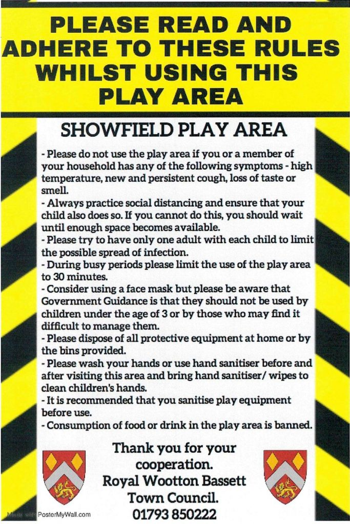 Covid 19 Guidance notice at Showfield Play Park