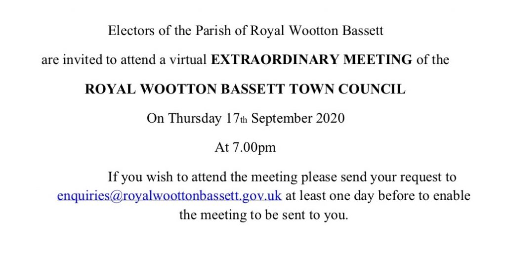 Notice of Full Council Extraordinary Meeting for Thursday 17th September 2020