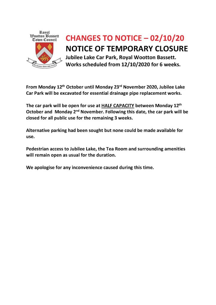 Notice of temporary closure of Jubilee Lake Car Park from Monday 12 October