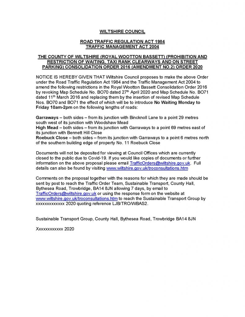 Press Notice on public consultation for proposed traffic regulation order amendments for Garraways, High Mead and Roebuck Close