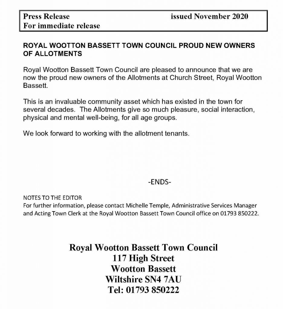 Press Release for purchase of allotments
