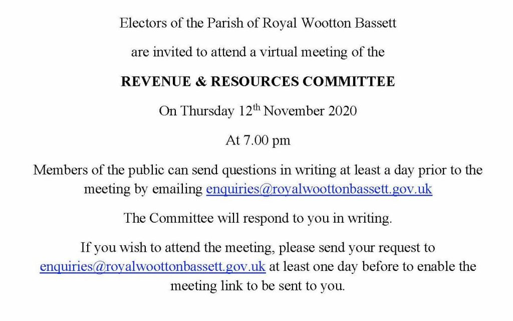 Notice for electors to Revenue  and Resources meeting for 12th November 2020