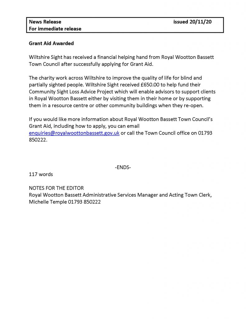 Press Release for Grant Aid awarded to Wiltshire Sight