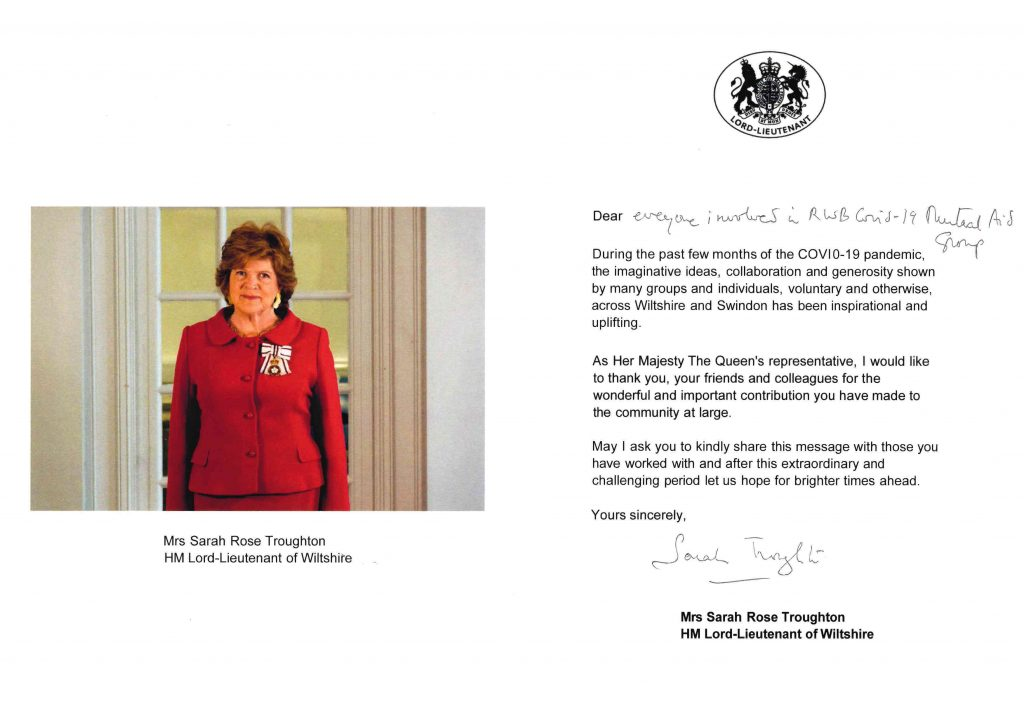 Lord Lieutenant thanks inside page