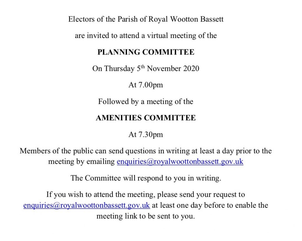 Notice of Planning & Amenities meeting 5th November 2020
