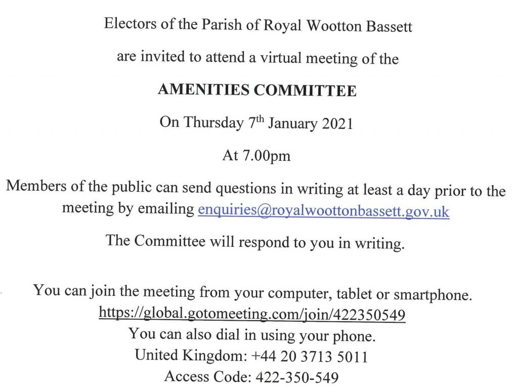Amenities Meeting Notice for Thursday 7th January 2021