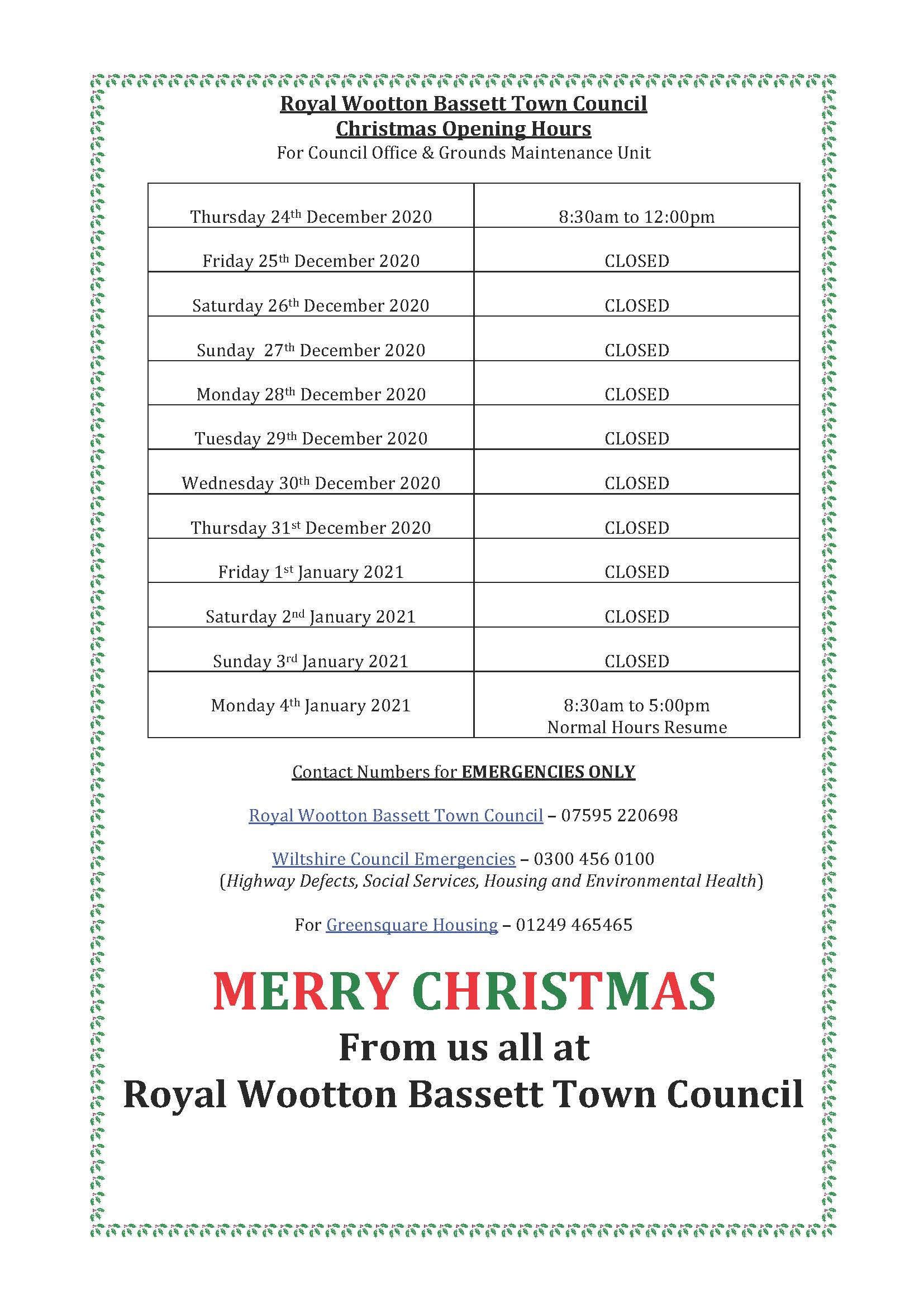 Notice of Town Council Christmas & New Year closure