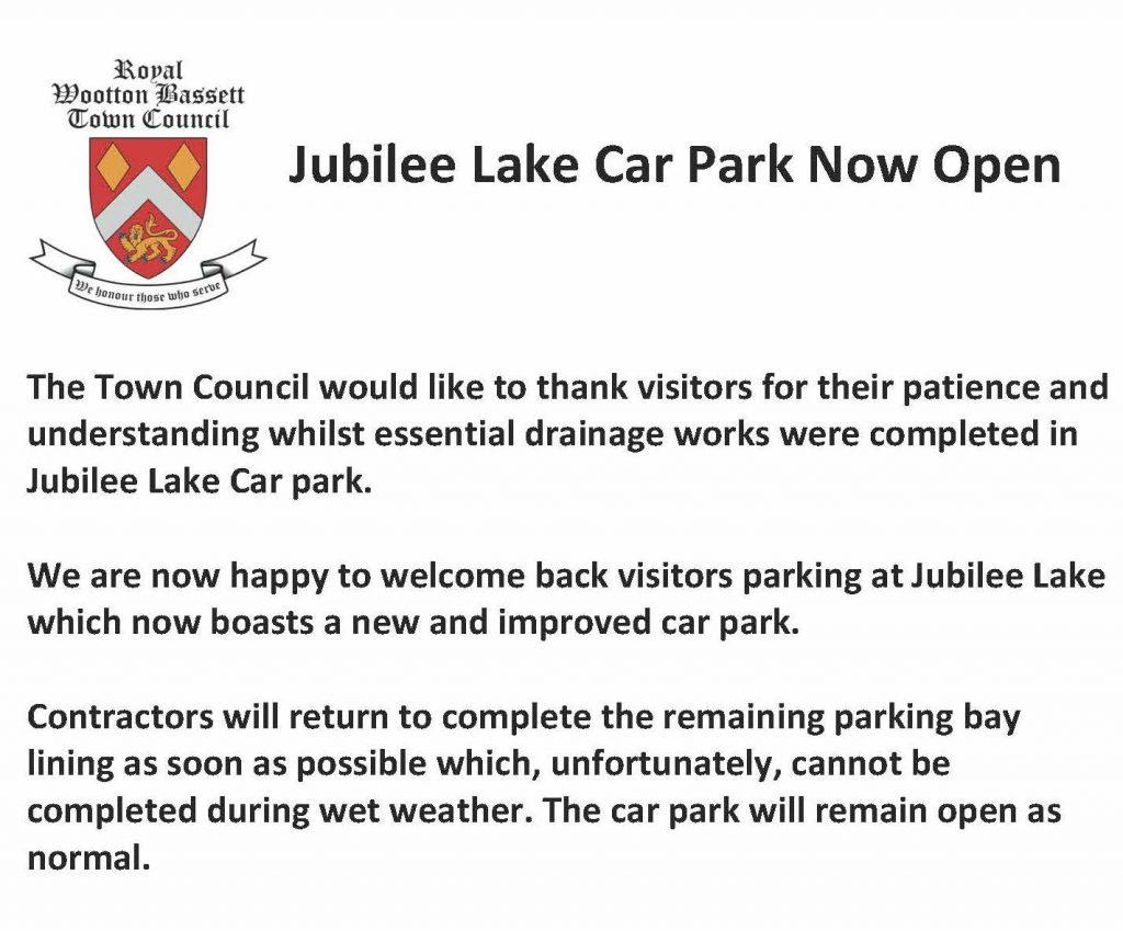 Jubilee Lake now open notice