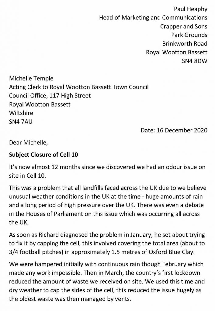 Page 1 Letter to Close Cell 10 at Crapper & Sons site