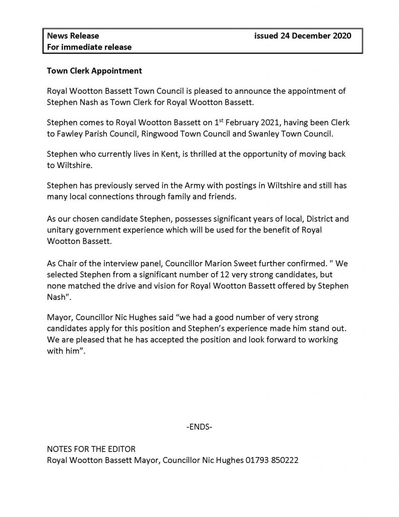 Press Release Town Clerk Appointment