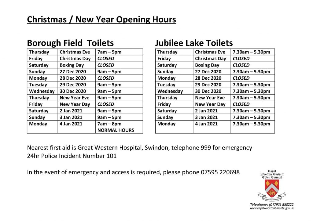 Opening Hours for public toilets over Christmas and New Year