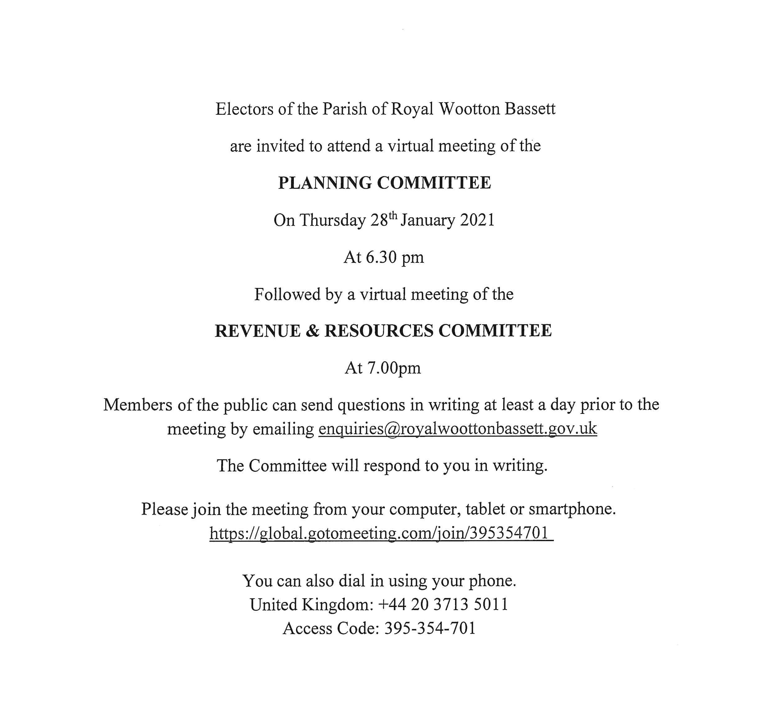 Planning and Revenue and Resources Meetings Notice for Thursday 28th January 2021