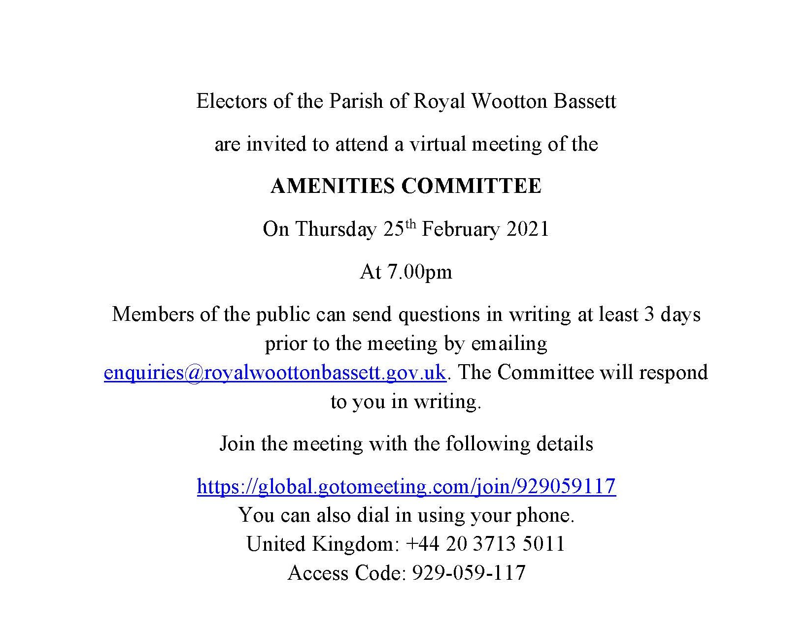Amenities Meeting Notice on Thursday 25th February 2021