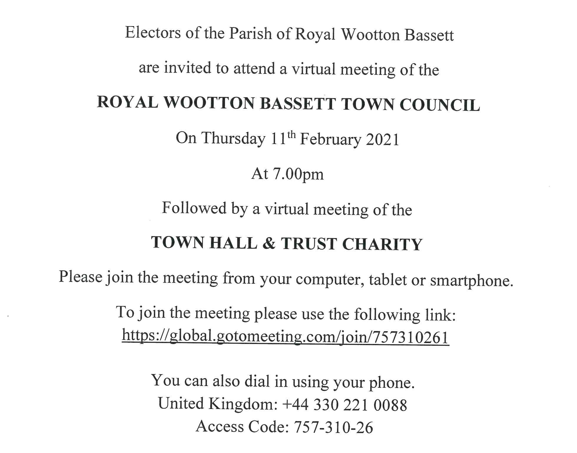 Full Council and Town Hall and Trust Charity Meetings - Thursday 11th February 2021
