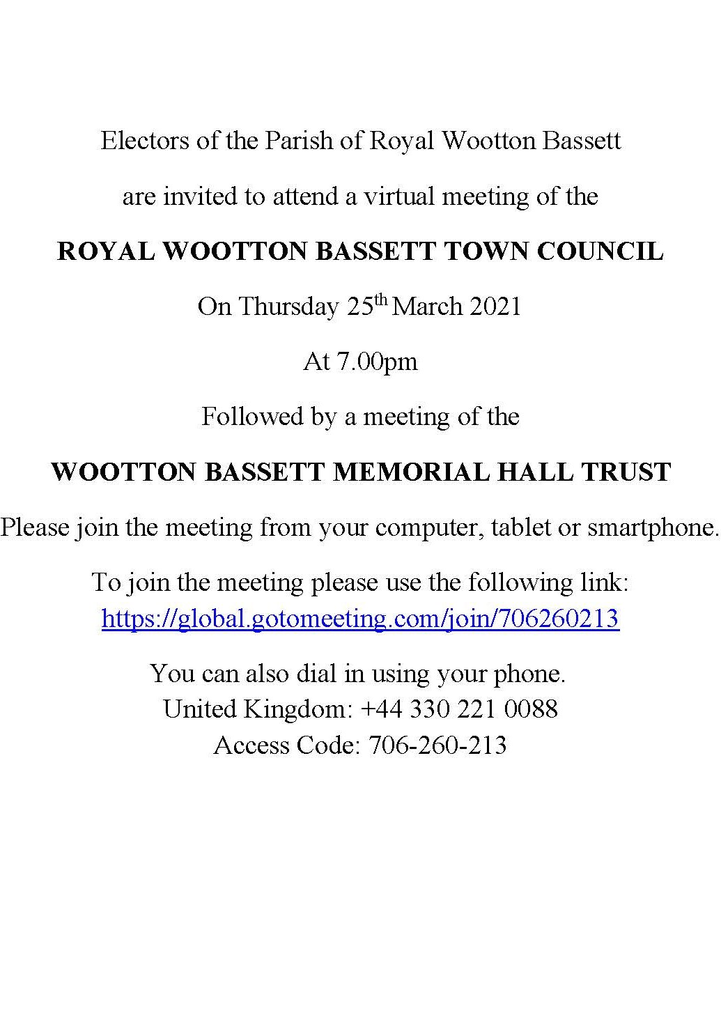 Full Council Meeting Notice - Thursday 25th March 2021