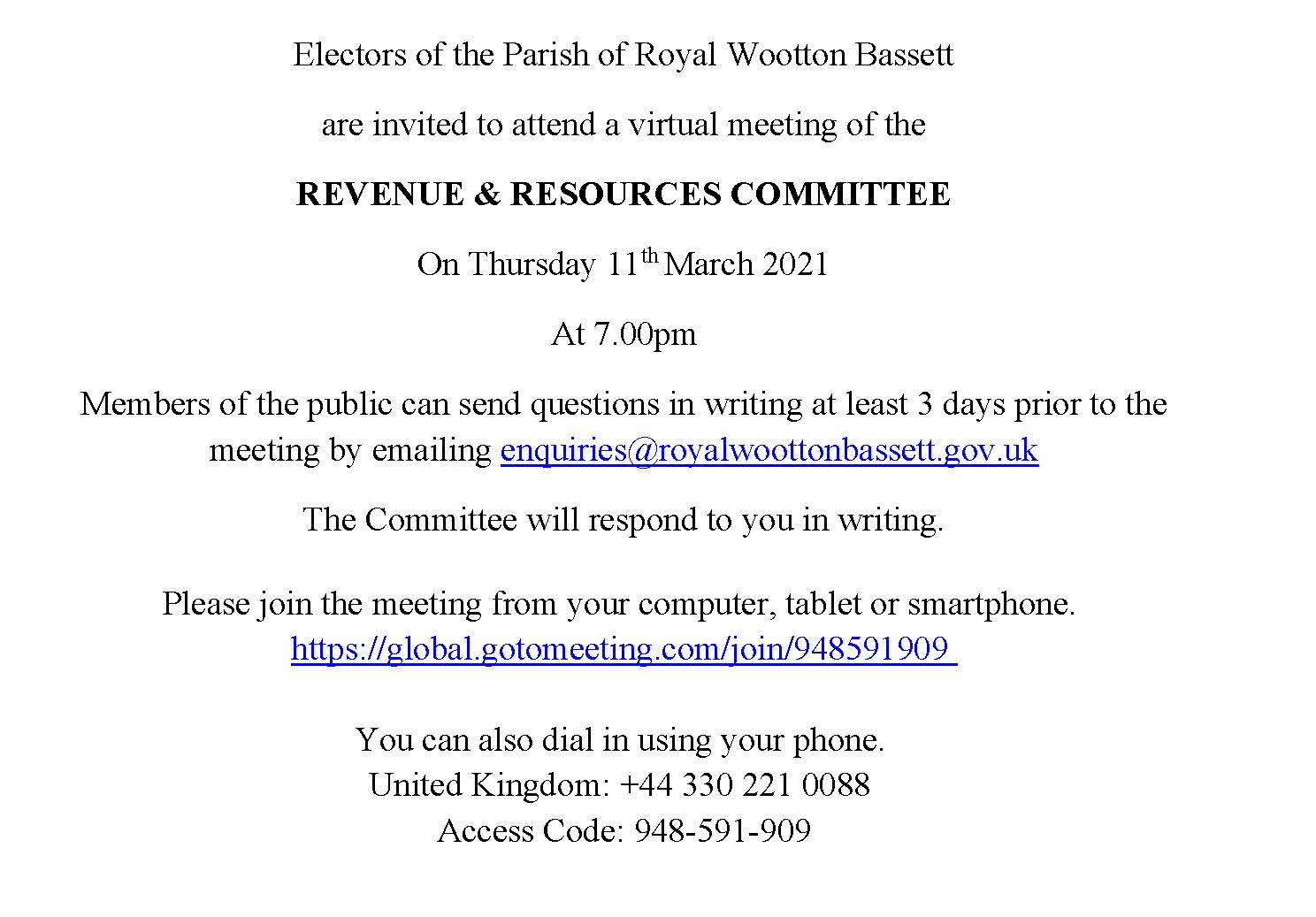 Revenue and Resources Meeting Notice on Thursday 11th March 2021