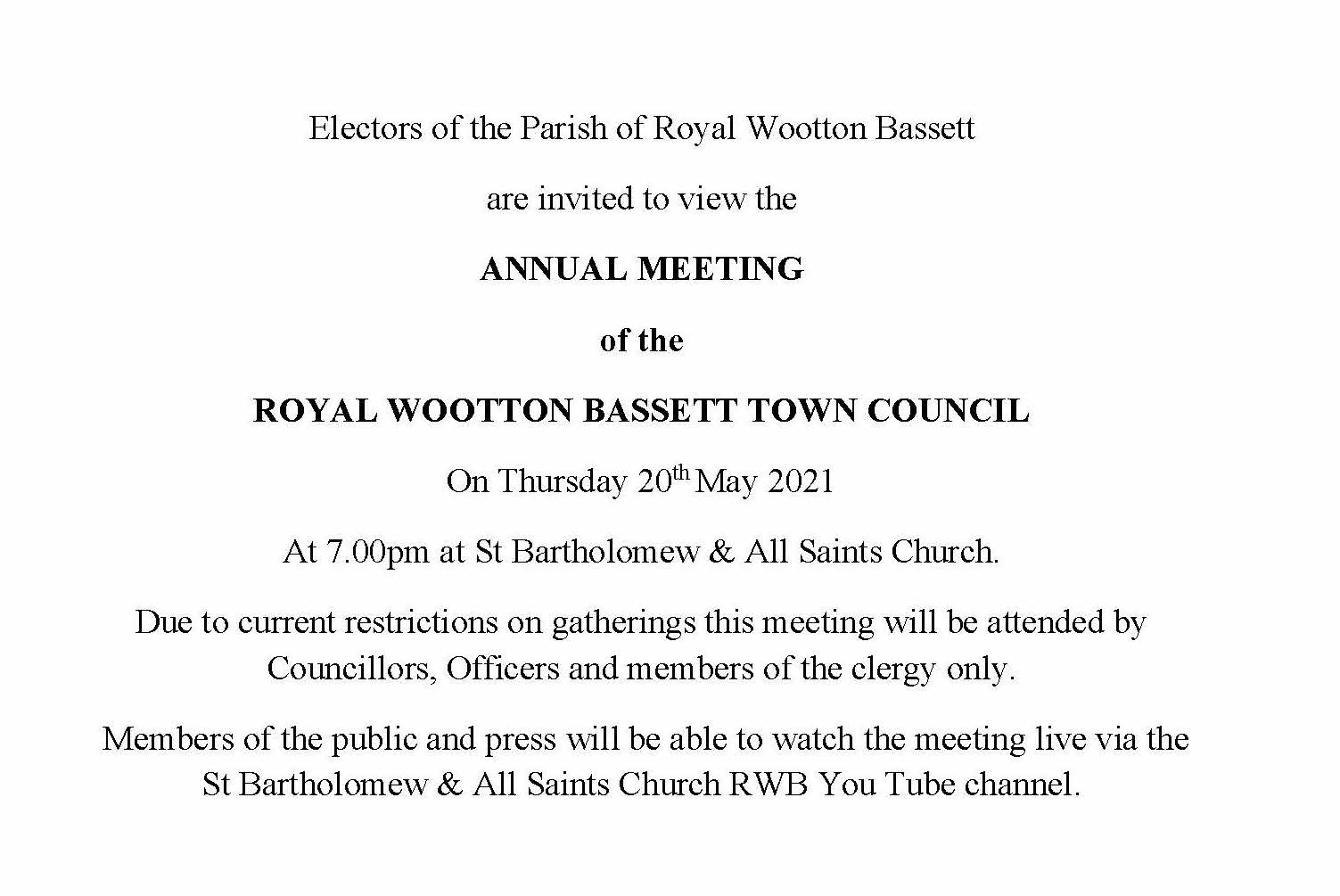 Full Council Meeting Notice Thursday 20th May 2021