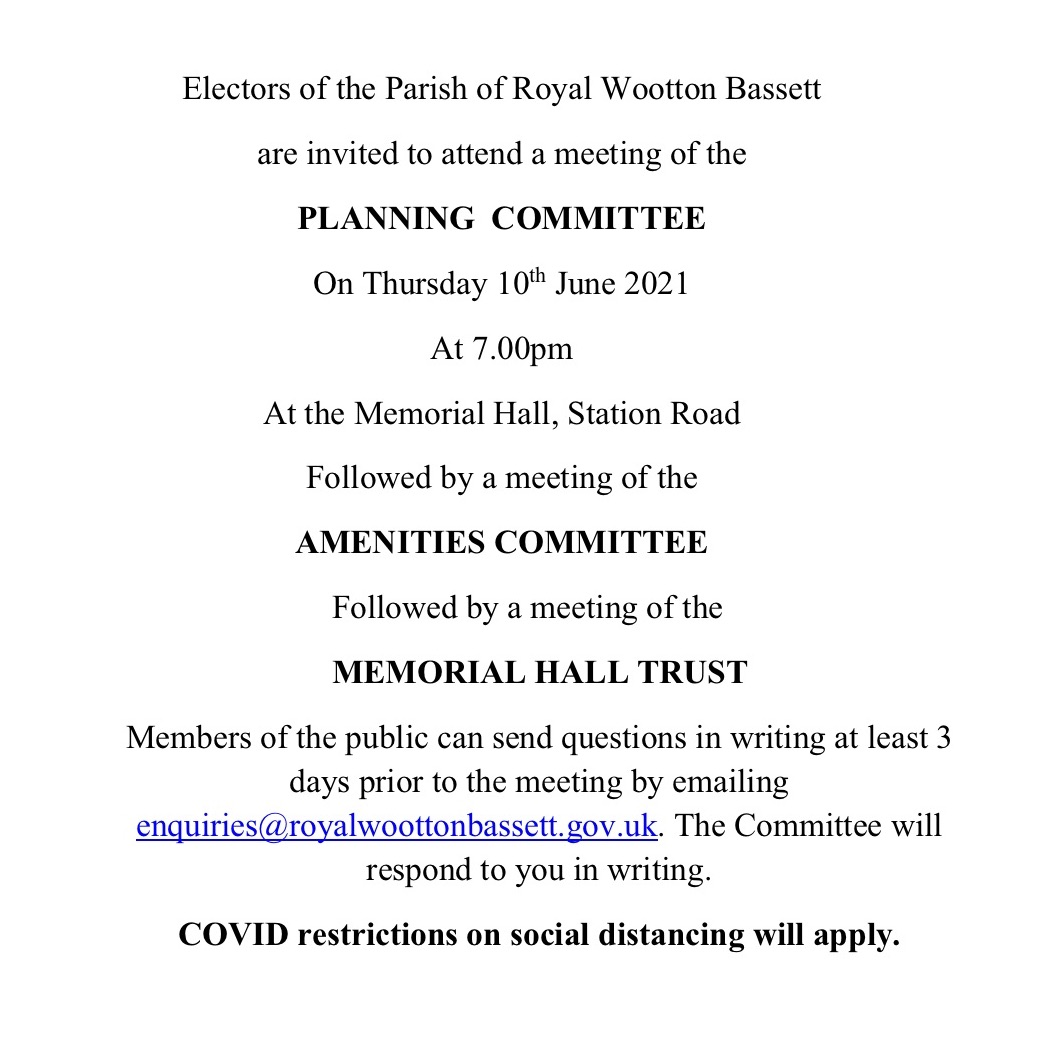 Meeting notice for Thursday 10th June 2021
