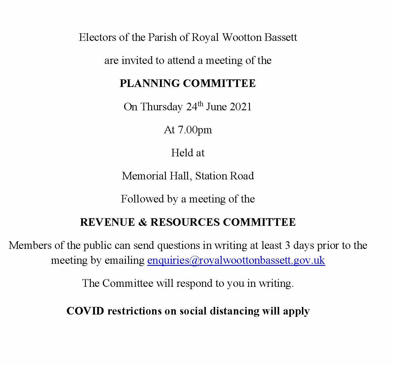 Planning and Revenue and Resources meeting on Thursday 24th June 2021