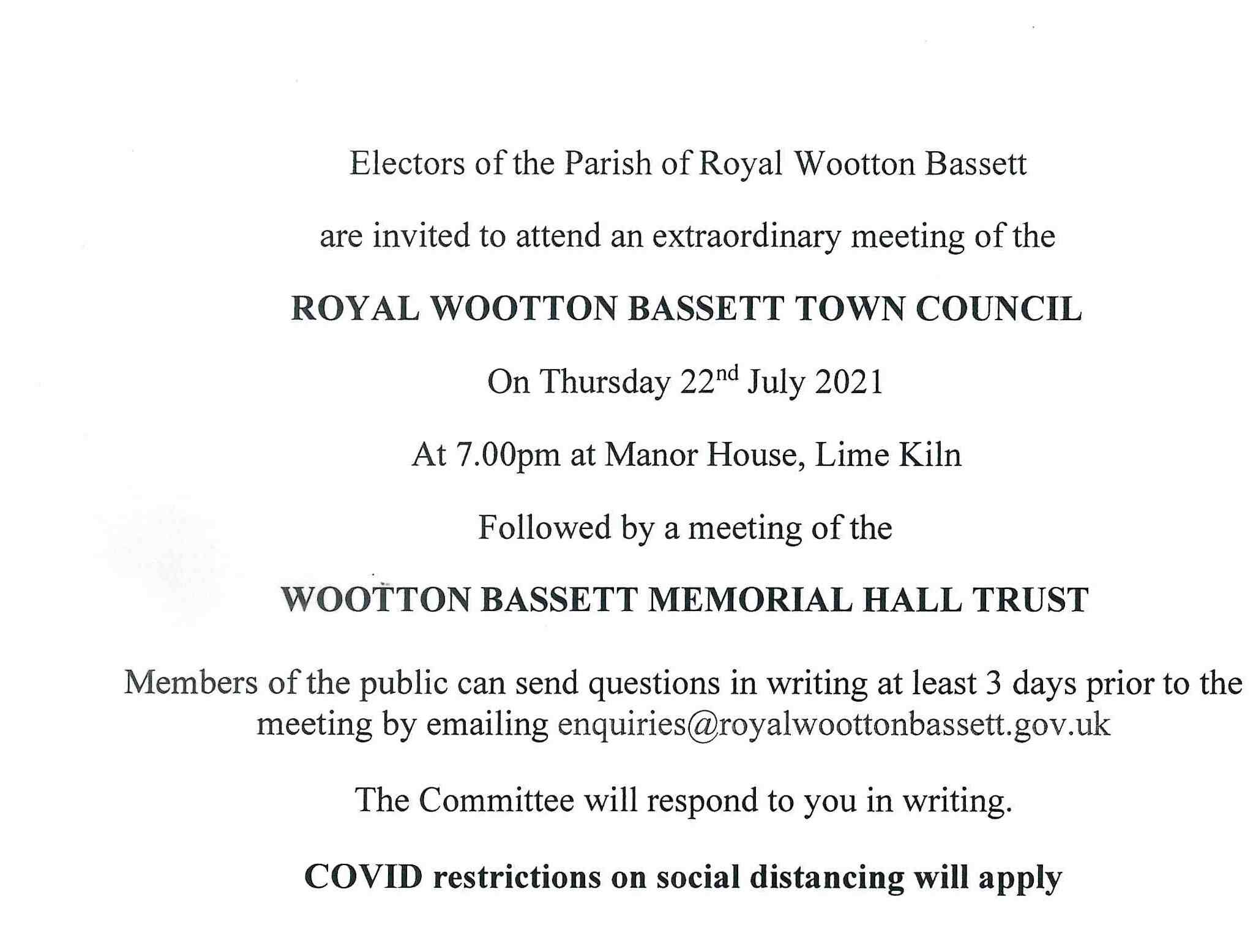 meeting notice for 22nd July 2021