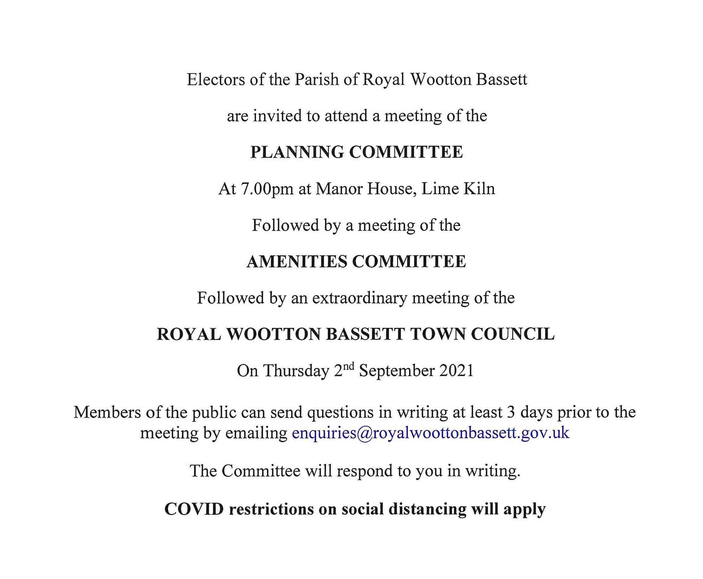 Town Council Meeting Notice for 2nd September 2021