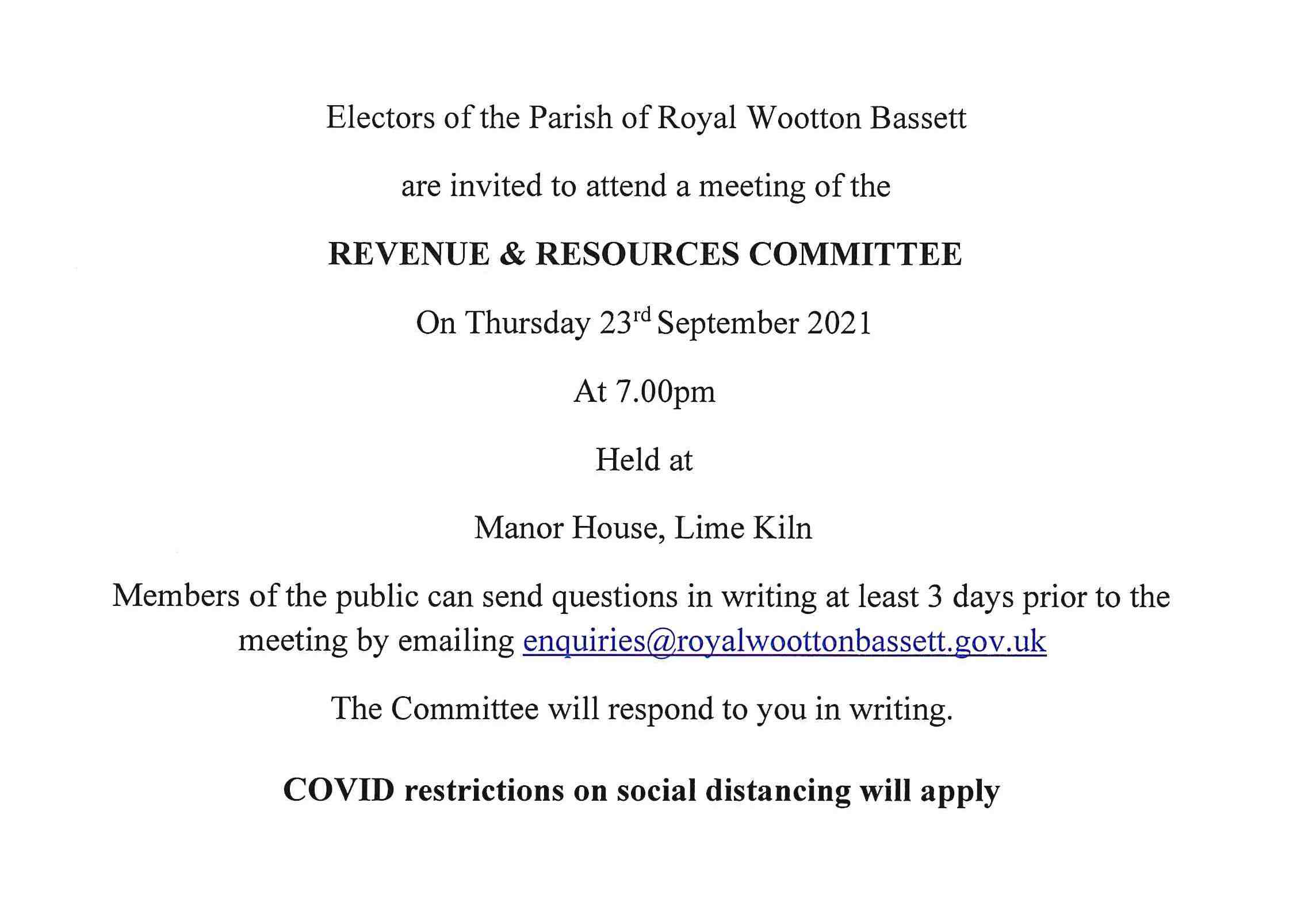 Revenue and Resources Meeting Notice