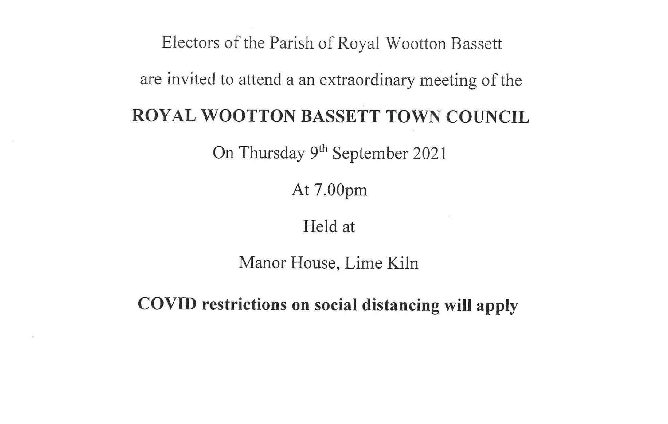 Meeting notice for Thursday 9th September 2021